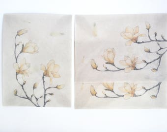 White Flower Translucent Watercolour Envelope Set, Letter Envelopes - LT026