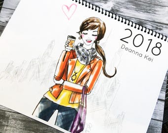 2018 Fashion Calendar, Fashion Illustration Calendar, 2018 Calendar, Wall Art Calendar, Style Calendar, Fashion Prints, Fashion Illustration