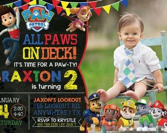 PAW PATROL Birthday Invitation with Photo! Digital File, Print at Home.
