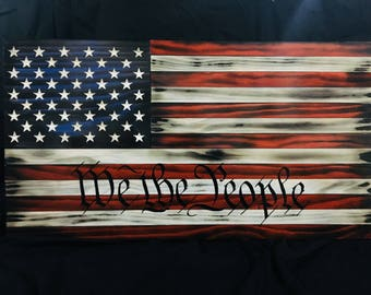 "Wood ""We The People"" American Flag"