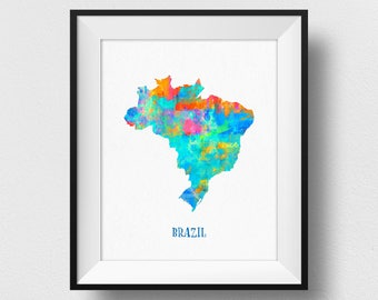 Brazil Map Wall Art, Brazil Map Print, Map Of Brazil Poster, Watercolour Brazil Map, Home Decor, Kids Room Brazil Theme (725)