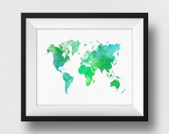 Green World Map Art, Watercolour World Map Print, World Map Wall Art, World Map Poster, Bedroom Decor, Kids Room Decor Wall Art (727)