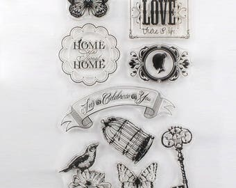 Love Birds Clear Stamp Set of 9