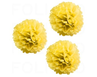 "YELLOW Puff Ball | Tissue Paper Puff Ball | 16"" Puff Ball Decor 