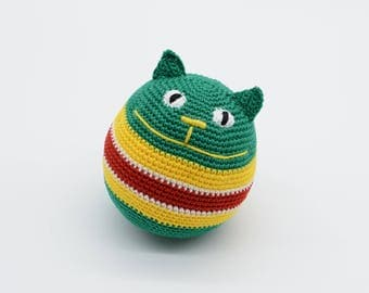 Stuffed cat, stress ball, Amigurumi crochet cat, baby boys gift, green cat crocheted, eco friendly toys, newborn gift, unisex gifts