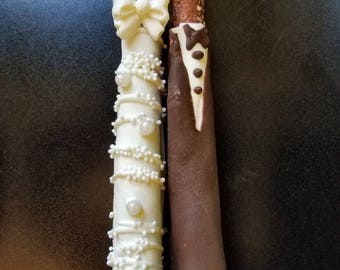 One dozen Bride and groom chocolate covered pretzel rods party favors