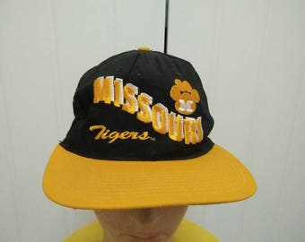 Rare Vintage MISSOURI TIGERS Embroidered Spell Out Cap Hat Free size fit all Made in USA