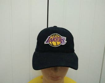 Rare Vintage LOS ANGELES LAKERS Big Logo Embroidered Cap Hat Free size fit all