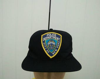 Rare Vintage Police Department City Of New York Patched Cap Hat Free size fit all