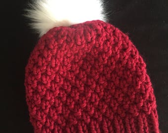 Red Knit Beanie with White Faux Fur Pompom / Hand Knit Chunky Beanie / Red Wool Hat