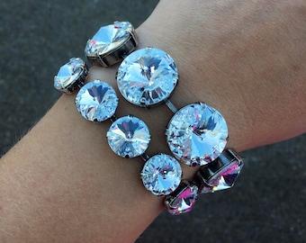 BOLD BLING Swarovski crystal 18mm large crystal bracelets in clear, jet black, and silver night - huge statement bracelet