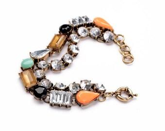 Bracelet double rangée pierre en pâte de verre vintage