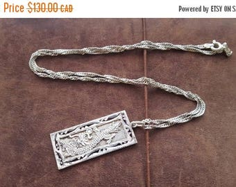 ON SALE Vintage Sterling Silver Necklace with Silver Dragon Pendant
