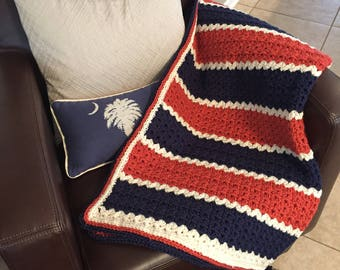 Burnt Orange/Cinnamon, Navy, and cream Baby Blanket or Lapghan