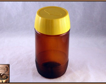 Vintage Maggi Amber Glass Canister with Plastic Lid