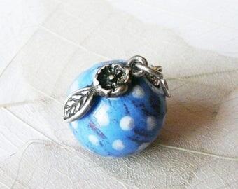 "Pearl ""Dew"" ceramic and Silver 925 pendant, retro poetic, handmade unique piece"