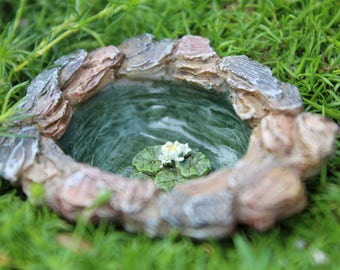 Micro Pond with Water Lily - miniature enchanted fairy garden