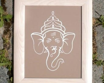 White Ganesh on a beige background in a wooden frame
