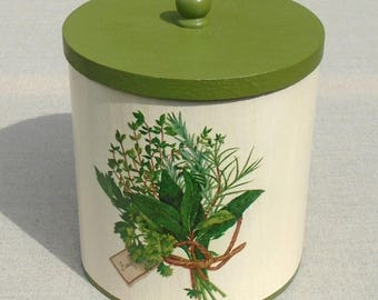 Wooden box with lid, herb decor