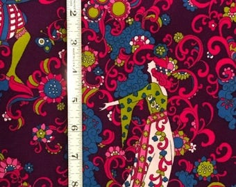Vintage Mid-Century Modern Fabric Pyschodelic 1960's