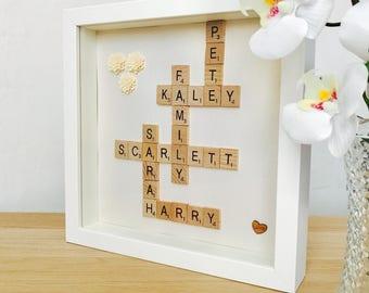 Scrabble Letters Frame, Personalised Scrabble Gift, Scrabble Frame, Scrabble Words Gift, Scrabble Frame, Custom Scrabble Letters Box Frame