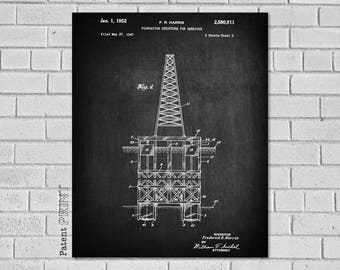 Oil Derrick Patent, Drilling Rig, Oil Rig Art, Oil Rig Print, Oil Rig Blueprint,Oil Rig Decor, Off Shore Drilling Rig, Oil Field Gift, CO911