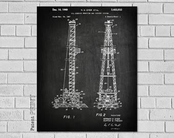Oil Well Derrick, Oil Field Gift, Oil Derrick Patent, Drilling Rig, Oil Rig Art, Oil Rig Print, Oil Rig Blueprint,Oil Rig Decor, CO933