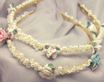 Hair Accessories Ivory Beads Cute flowers Hairband Women Hair Headbands & Turbans ivory