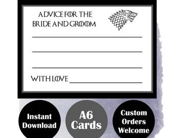 Advice for the Bride and Groom Game Cards - Fun Themed Weddings - Wedding Games - Game of Thrones Theme Parties - Party Decor - Download