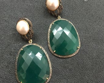 Pearl And Green Onyx Earring,Victorian Earrings ,Pearl Earrings,Dangle Earrings,Diamond Earrings,Green Onyx Earrings ,Victorian Jewellery