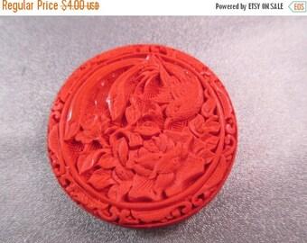 ON SALE 15% OFF Carved Red Cinnabar Bird/ Flower Bead 1pc