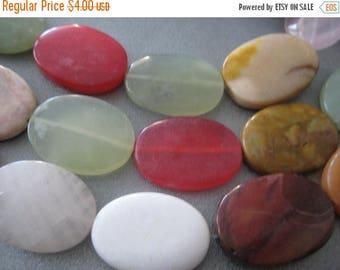 ON SALE 15% OFF Mixed Stone Oval Beads 13pcs