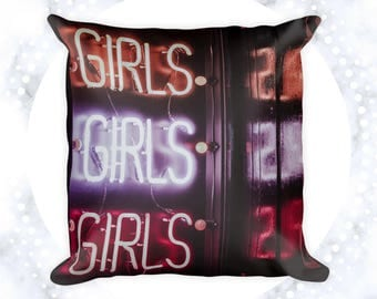 Girls Girls Girls Throw Pillow | Pillow Cases | Home Decor | Neon Sign | Chic Accent Pillows | Decorative Pillows | Gifts for Her | Signage