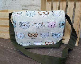 Diaper bag /kaki diaper bag/ messenger bag / baby bag/ kids bag/ cotton bag/ day bag/ cat/ gift