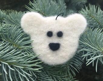 Needle Felted Polar Bear Ornament, Needle Felted Polar Bear Decoration, Needle Felted Polar Bear