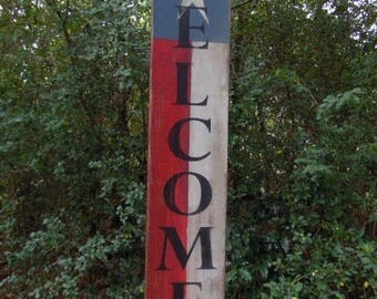 Welcome Primitive Sign, Vertical Texas Flag Welcome Primitive Sign, Shabby Chic Texas Sign, Rustic Texas Welcome Sign, Distressed Texas Sign