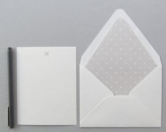 Pilot Stationery - Airplane Note Cards - Traveler's Stationery - Grey and White Planes
