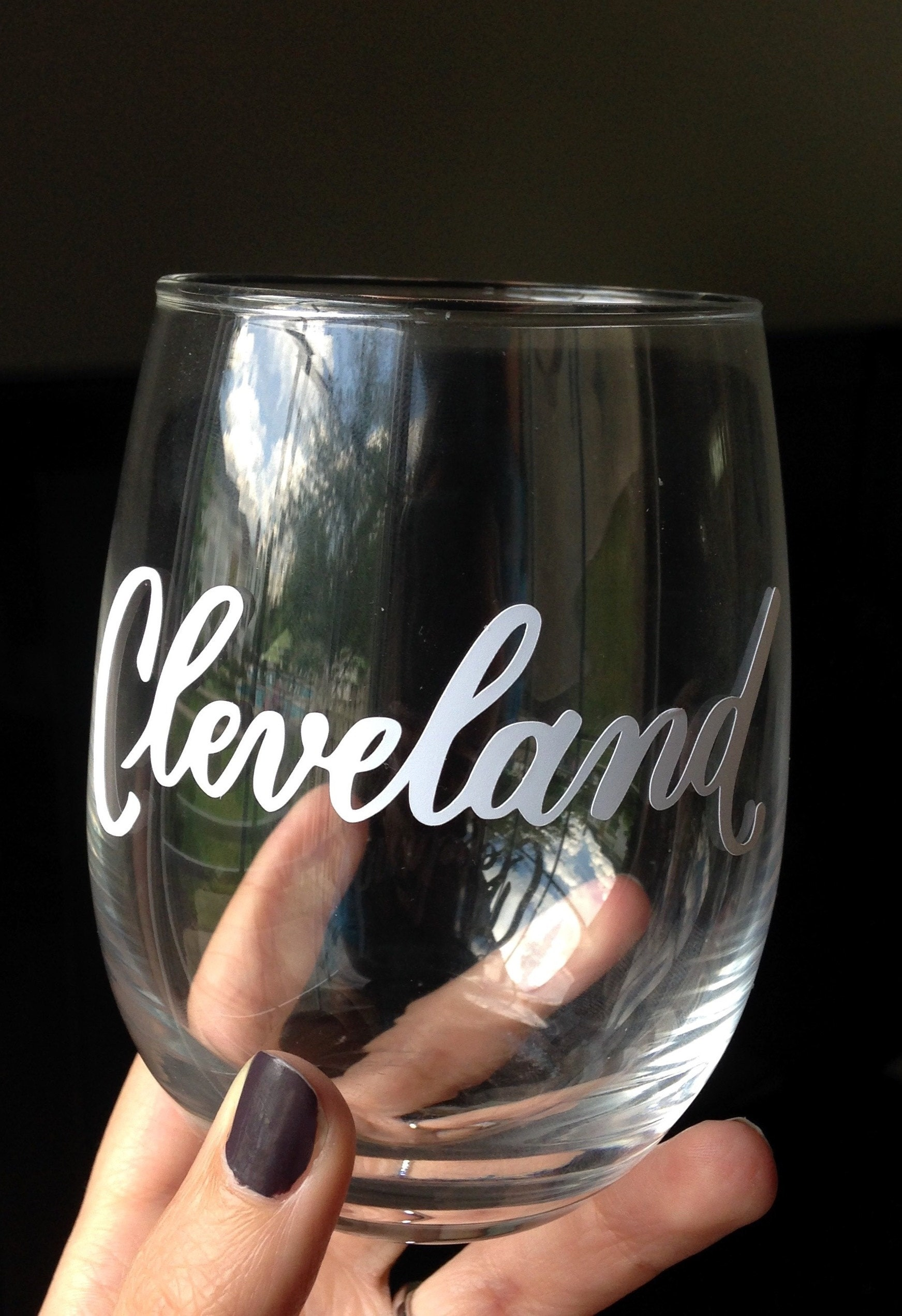 Finished vinyl lettered wine glass