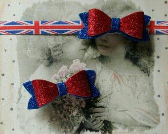 ON SALE Union Jack baby headband , London England baby toddler headband , glitter headband baby hair bow clip Set of 2