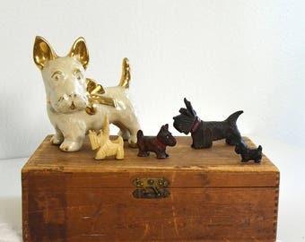 vintage scottie miniatures, lot of five scottie figurines, scottie collectibles, dog figurines terrier dogs