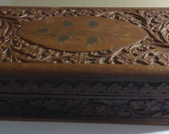 Beautiful Vintage Floral Hand Carved Wooden Velvet Lined Jewelry Box Made in Indian Stamped JGE INDIA