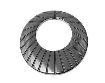 40 mm striated genuine Hematite DONUT pendant