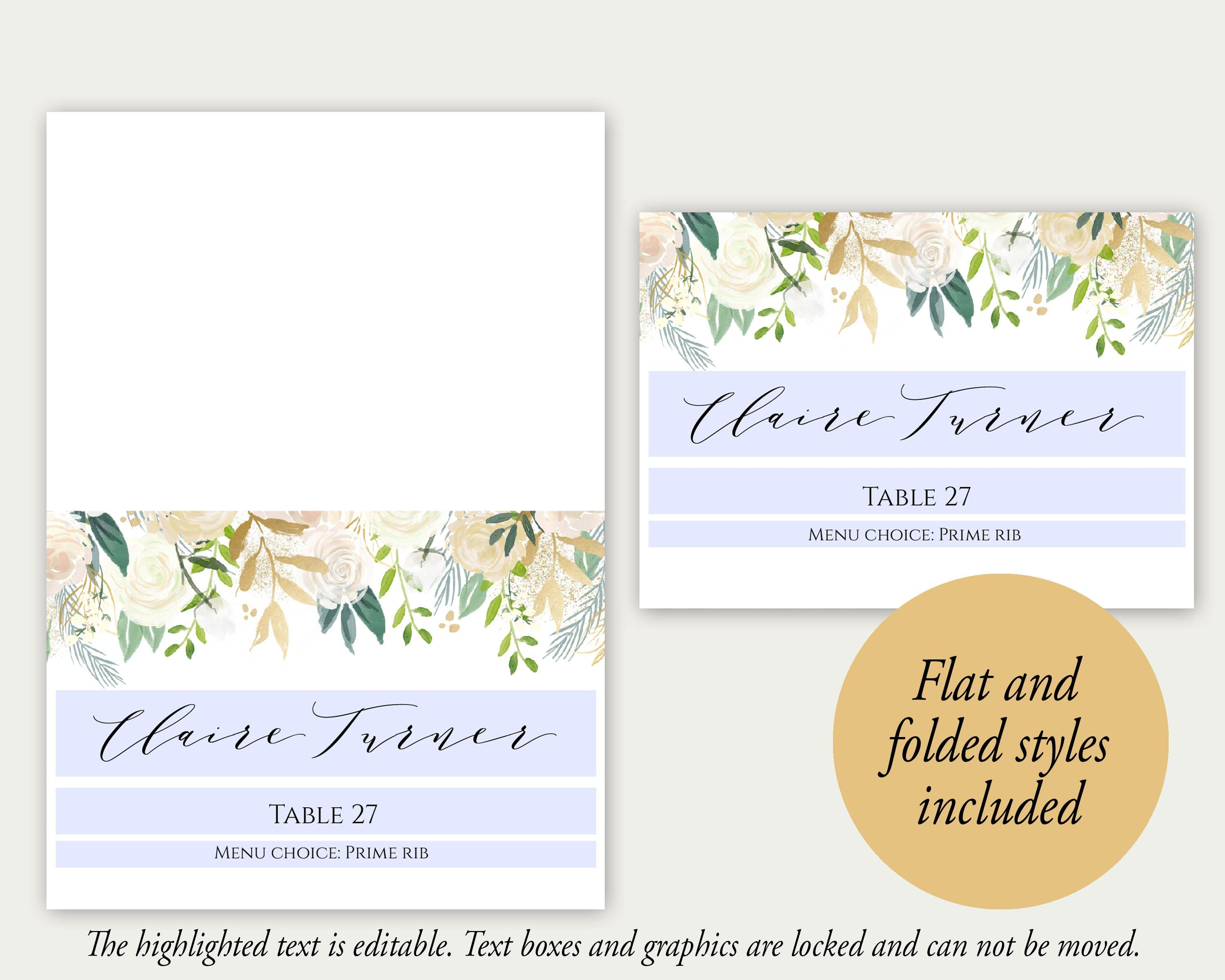 Place Cards Place Cards Wedding Place Card Template PDF
