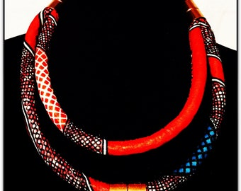 African Ankara Print Fabric  Necklace Red