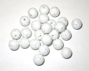 10 round white and grey silicone beads food 12 mm