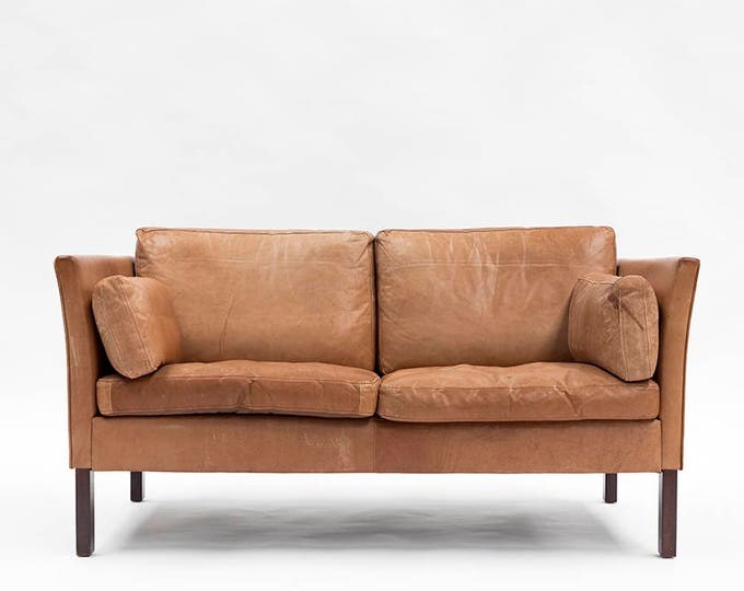 Danish Modern Leather Loveseat