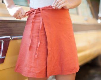 Handmade Linen Wrap Skirt