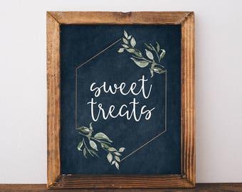 Sweet Treats Sign - Rustic Dessert Table Decor - Navy and Greenery Wedding Decor - Printable Dessert Table Sign - Sweets Table Sign