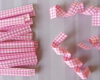 Set of 25 ties (ties) gingham color rose for your packaging