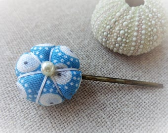 Hair clip pin flat 2.2 cm Blue Green Japanese flower Bobby pin